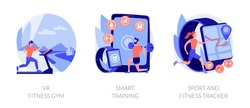 Sport exercise modern technologies metaphors. VR gym, smart training, fitness tracker. Workout tracking wearable devices. Smart watch app. Vector isolated concept metaphor illustrations.