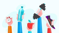 Sport exercise web banner. Time to fitness and workout concept. Idea of active and healthy lifestyle. Hands holding training equipment. Vector illustration in cartoon style