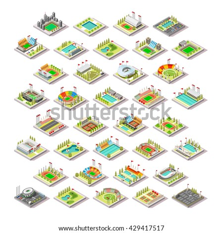 Sport Facility Building Set. 3D Isometric City Map Sport Park Buildings Infographic Element. Stadium Arena Field Pool Green Track Camp Court Structure. Game Icon Sport Collection Vector Illustration