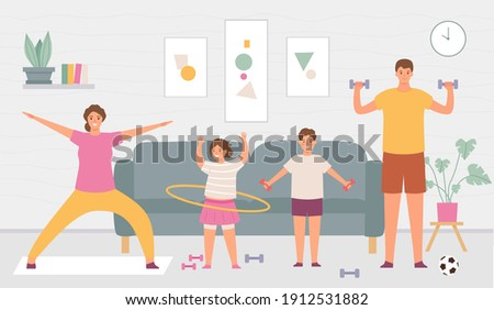 Sport family at home. Parents and kids do exercise in house interior. Indoor healthy lifestyle for active adults and children vector concept. Father and with dumbbells, daughter with hula hoop