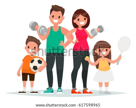 Sport family. Dad, mother, son and daughter lead a healthy lifestyle and are engaged in fitness and various sports. Vector illustration in a flat style stock photo
