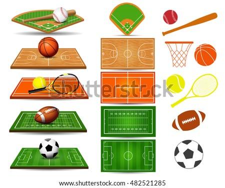 sport fields  balls and design