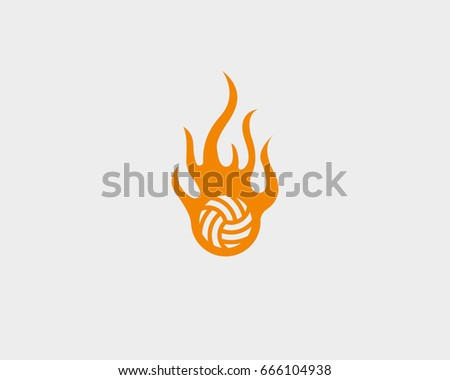 sport fire ball logo design