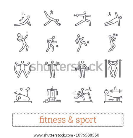 Sport, fitness and gym exercise thin line icons. Modern linear logo concept for web, mobile apps. Gym equipment, sports lifestyle, yoga and recreation activity pictogram. Outline vector collection.