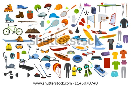 sport fitness equipment, gear, items clothes graphic set