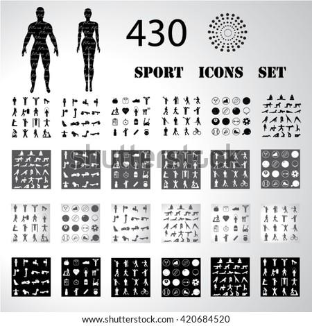 Sport fitness icons set illustration