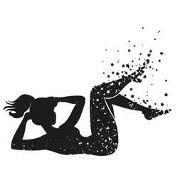 Sport Fitness poster. Abstract background with woman Silhouette of particles.  For print on T-shirt and bags, yoga studio or fitness club. Vector illustration