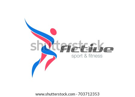 Sport Fitness Winner Champion Man Logo design vector template. Active workout concept Logotype icon.