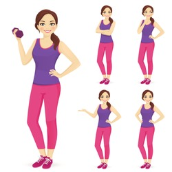 Sport fitness woman in sportswear set isolated vector illustration