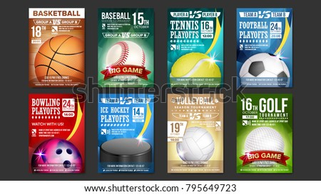 Sport Flyer Set Vector. Golf, Baseball, Ice Hockey, Bowling, Basketball, Tennis, Soccer, Football Flyer. Vertical Card Poster  Design For Sport Bar Promotion. Tournament Flyer. Invitation Illustration