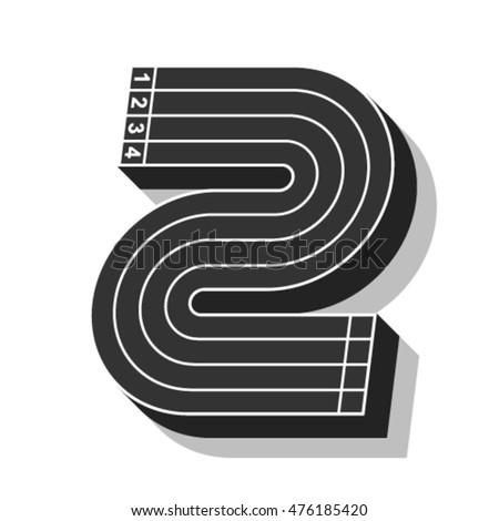 sport font  number 2  running