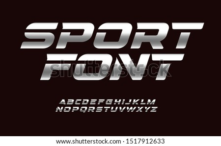 sport font with chrome texture