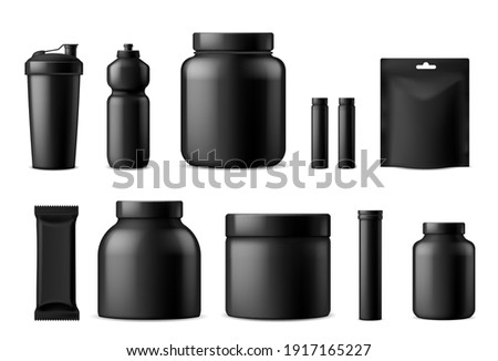Sport food black containers. Whey protein, gainer powder and nutrition supplements packaging mockups collection, snack wrapper, fitness products, vitamins and energy drinks. Vector 3d template set Foto stock ©