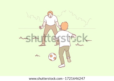 Sport, football, family, fatherhood, childhood concept. Cartoon characters young man father playing football with boy child kid in park. Outdoor holiday recreation and fathers day