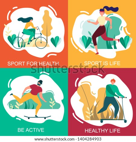 Sport for Health, Healthy Life, Be Active Banner Set. Cartoon People Physical Activity. Man and Woman Cycling, Run, Jogging, Ride Skateboard Scooter Outdoors. Nature Park Summer Vector Illustration