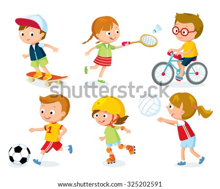 sport for kids including football, badminton, volleyball