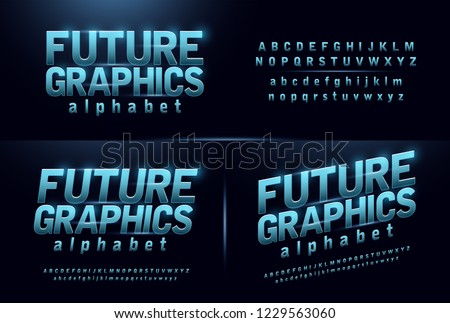 sport future blue glow modern alphabet fonts. technology typography bold and italic font uppercase and lowercase. vector illustration