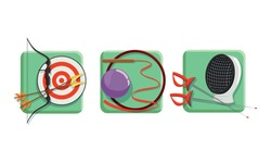 Sport Game Icons with Fencing Mask and Bow with Arrows Vector Set