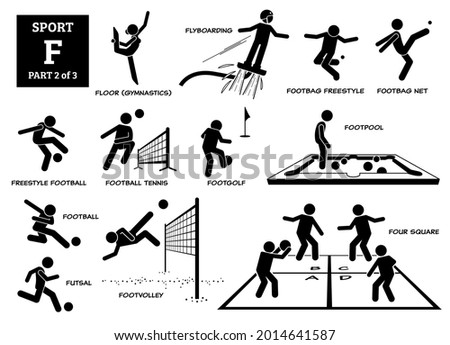 Sport games alphabet F vector icons pictogram. Floor gymnastic, flyboarding, footbag freestyle, net, freestyle football, football tennis, footgolf, footpool, futsal, footvolley, and four square. Foto stock ©