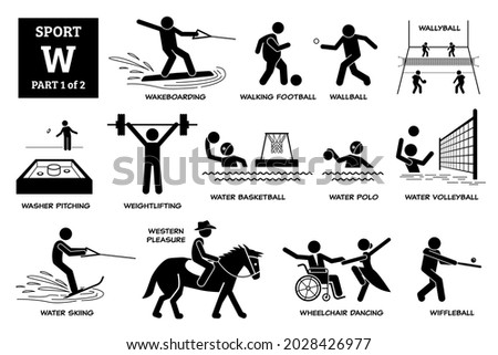 Sport games alphabet W vector icons pictogram. Wakeboarding, walking football, wallyball, washer pitching, water basketball, polo, volleyball, skiing, western pleasure, wheelchair dance, wiffleball. Zdjęcia stock ©