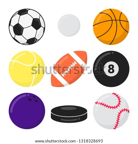 Stock Photo Sport games balls flat style design vector illustration set isolated on white background. Soccer, ping pong, basketball, tennis, football, billiards, bowling, puck, baseball - symbols of sport games.
