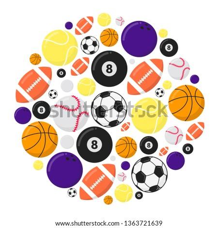 Stock Photo Sport games balls flat style design vector illustration set isolated on white background. Soccer, ping pong, basketball, tennis, football, billiards, bowling, baseball