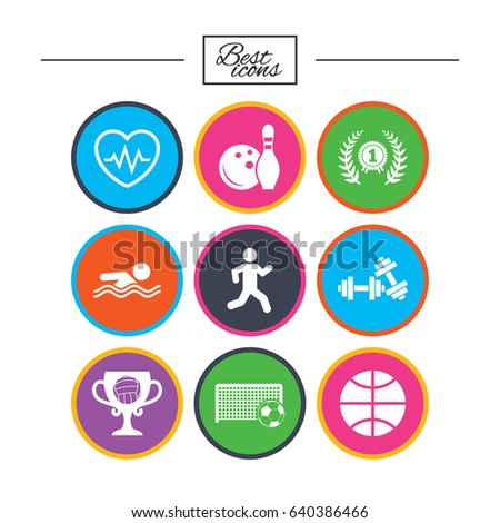 Sport games, fitness icons. Football, basketball and bowling signs. Swimming, runner and winner award symbols. Classic simple flat icons. Vector