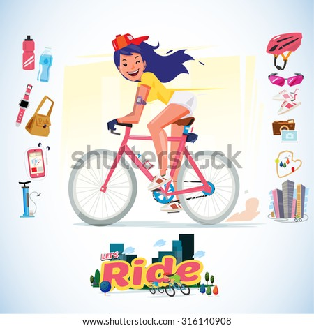 sport girl riding bicycle with