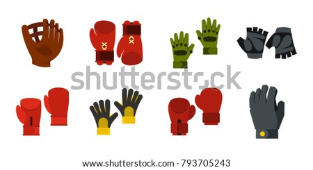 Sport gloves icon set. Flat set of sport gloves vector icons for web design isolated on white background