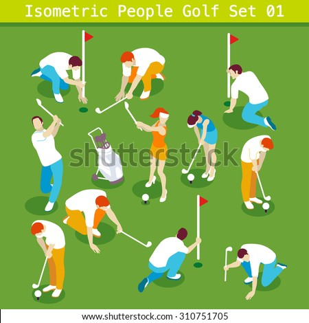 sport golf players set people