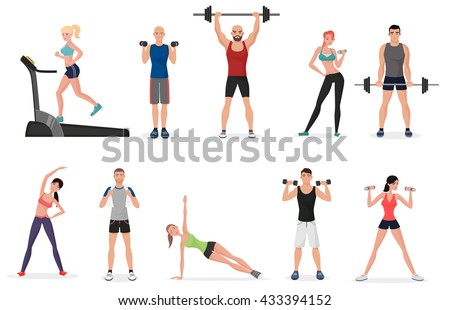 sport gym people set with