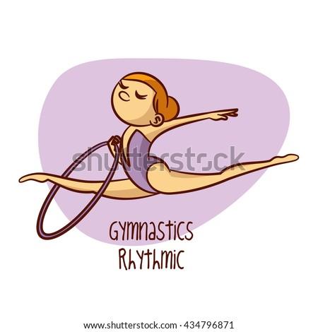Sport. Gymnastics Rhythmic. Hoop. Vector Illustration