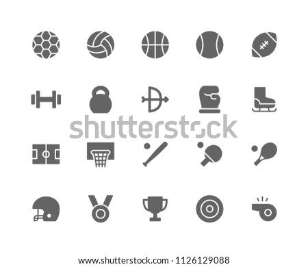 Sport Icon Design Vector Symbol Ball Football Basketball Volleyball Rugby Fitness Archery Boxing Baseball Tennis Champion Target