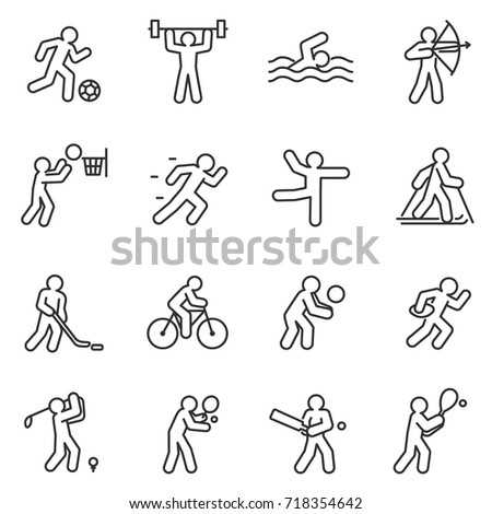 Sport, icon set. Different kinds of sports. linear design. lines with editable stroke