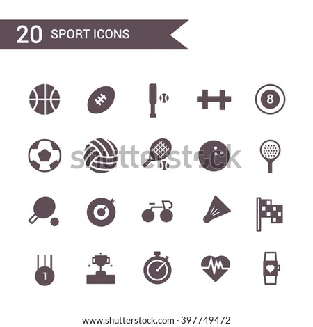 sport icon set vector. Silhouette.