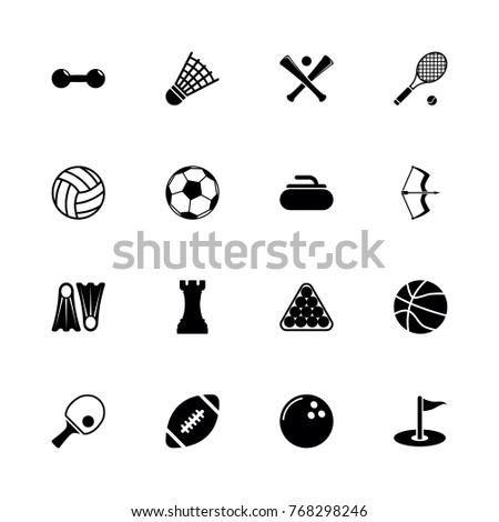 Sport icons - Expand to any size - Change to any colour. Flat Vector Icons - Black Illustration on White Background.
