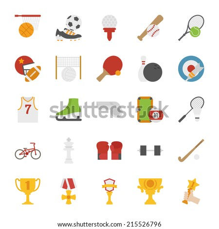 Sport icons flat design eps10 vector format