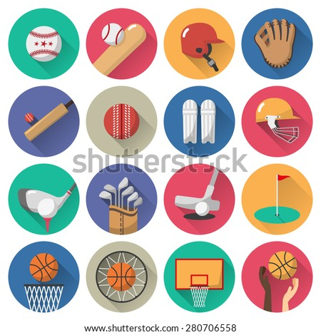 sport icons flat set with