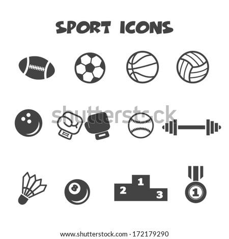 sport icons, mono vector symbols