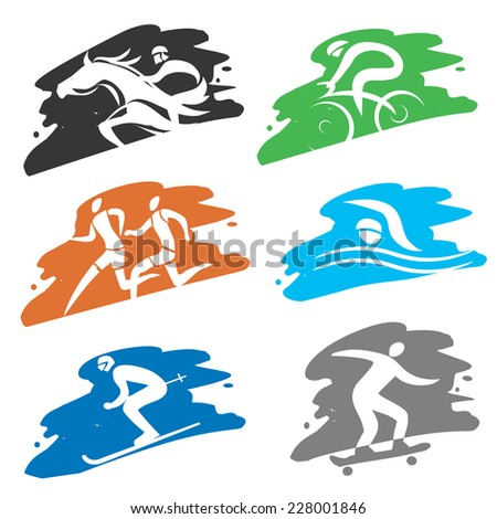 Sport icons on the grunge background. Set Sport icons on the grunge colorful background. Vector illustration.
