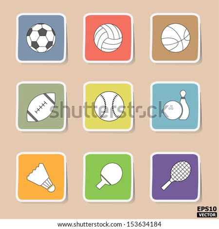 Sport icons or symbols set. -eps10 vector