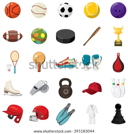 Sport icons set in cartoon style. Sport isolated vector illustration