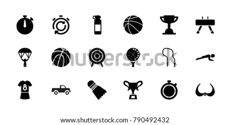 Sport icons. set of 18 editable filled sport icons: bra, basketball, bottle for fitness, target, golf ball, football uniform, shuttlecock, trophy, stopwatch
