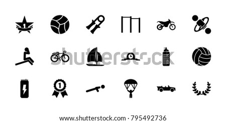 Sport icons. set of 18 editable filled sport icons: sport expander, horizontal bar, man doing exercises, fitness bottle, push up, bicycle, cabriolet, 1st place star, sailboat