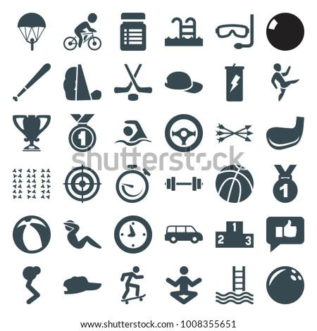 Sport icons. set of 36 editable filled sport icons such as basketball, medal, bowling ball, parachute, car, man doing exercises, yoga, protein powder, baseball cap, thumb up