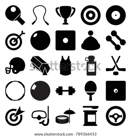 Sport icons. set of 25 editable filled sport icons such as dice, target, skipping rope, dumbbell, bowling ball, protein powder, hoop, steering wheel, hockey, snorkel
