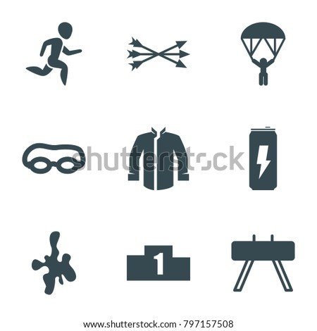 Sport icons. set of 9 editable filled sport icons such as fintess equipment, swimming glasses, ranking, arrow bow, man with parachute, jacket, running man, protein powder
