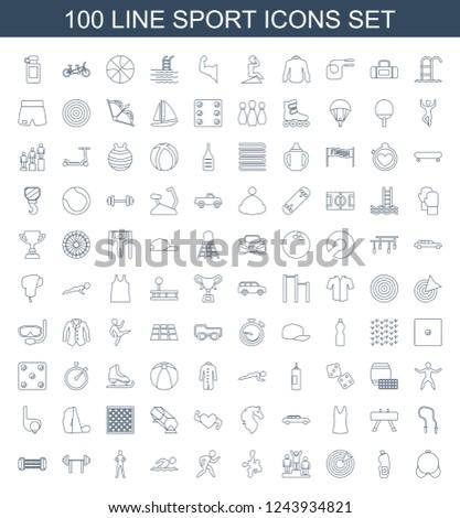 sport icons set of 100 line