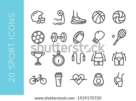 Sport icons. Set of 20 sport minimal icons. Soccer, Fitness, Gym, Bicycle icon. Hobby, wellness signs. Icons for web page, mobile app. Vector illustration
