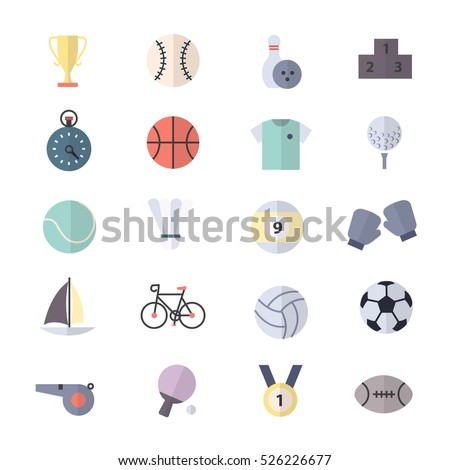 Sport Icons Set Of Vector Illustration Style Colorful Flat